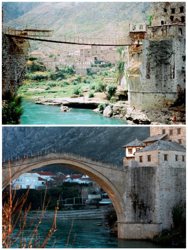 Foto compuesta con el antes y después de la reconstrucción del puente Stari Most (Reuters)