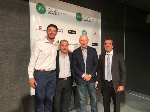 Gustavo Greco, Ceo de Greco Group empresa organizadora del seminario junto a Martin Yeza el Dr. Sergio Berensztein y Martin Sassot por banco Macro