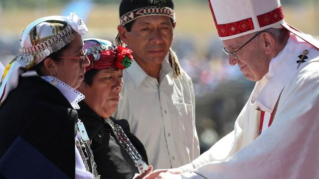 El papa Franicsco durante la misa en Temuco (Reuters)