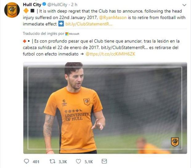 El anuncio del Hull City del retiro de Ryan Mason