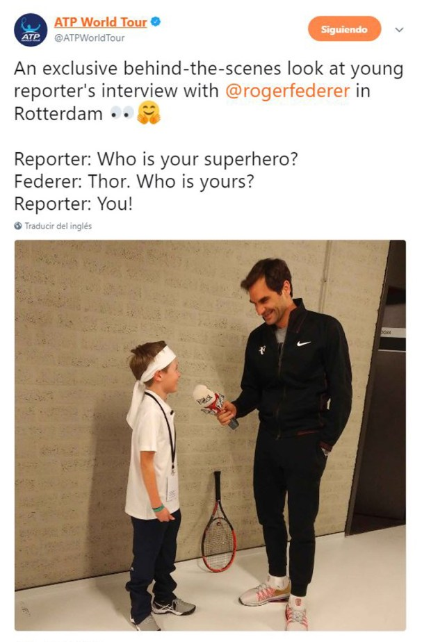 La charla entre Federer y un pequeño entrevistador