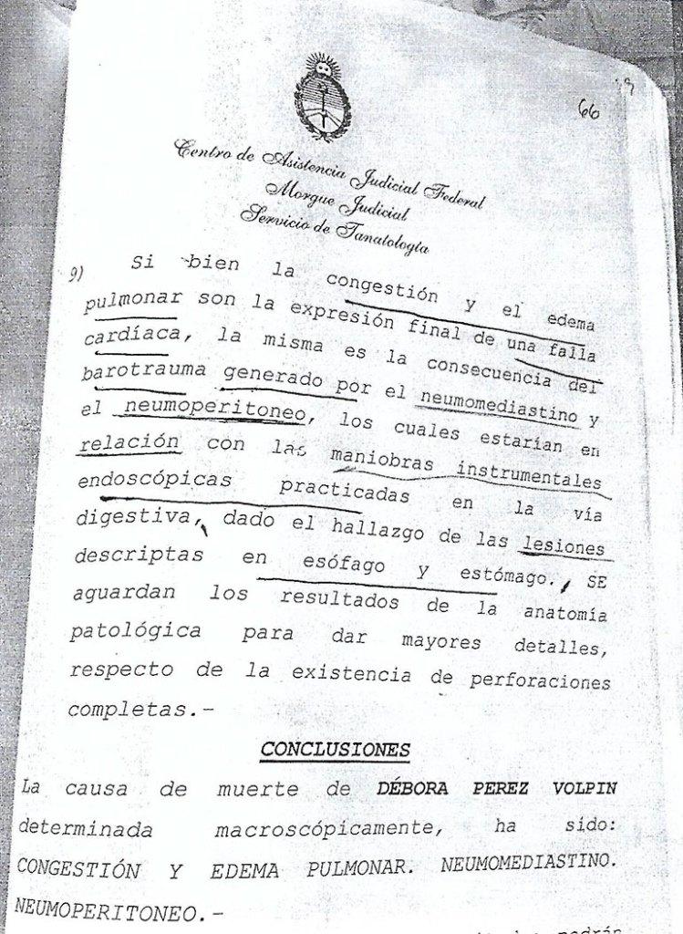Parte de las conclusiones de la autopsia realizada al cadáver de Pérez Volpin