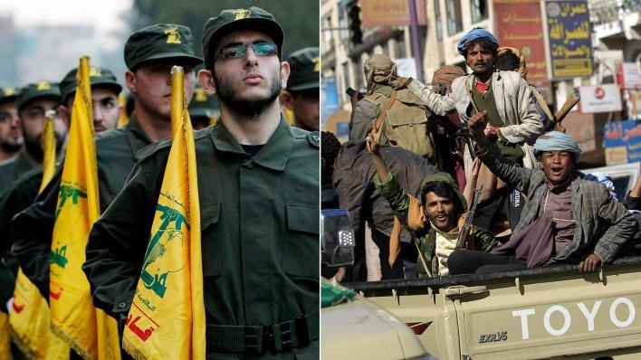Hezbollah y los rebeldes hutíes, apoyados por el régimen persa