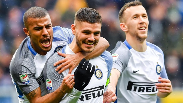 Mauro Icardi, la figura del partido en el que Inter golea a Sampdoria en la 29° fecha de la Liga de Italia 2017/18 (Simone Avreda/ANSA via AP)