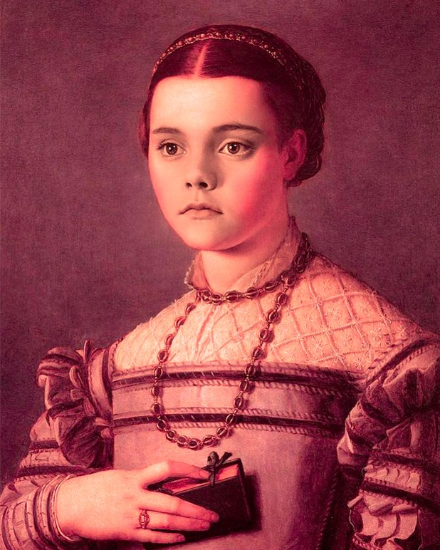 Christina Ricci en una pintura del Renacimiento de Bronzino (Foto Instagram)