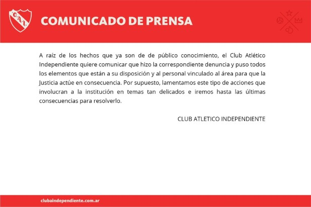 El comunicado que publicó Independiente en sus redes sociales