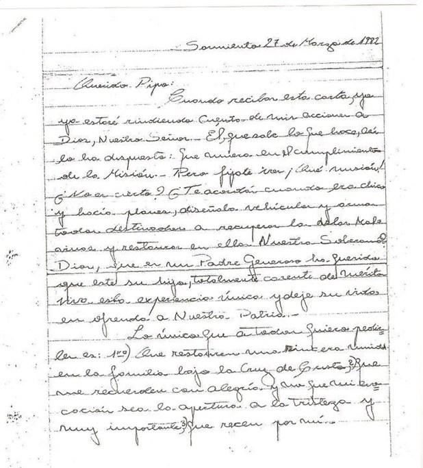 La carta que el teniente Estévez le escribió a su padre poco antes de partir hacia la guerra