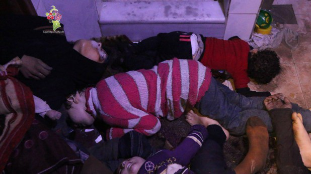 Niños muertos durante el ataque en Duma