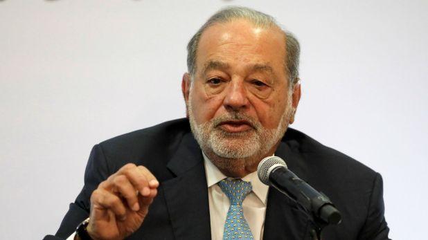 El multimillonario mexicano Carlos Slim durante la conferencia en la que defendió las obras del nuevo aeropuerto, en la que él tiene contratos. (Foto: Reuters)