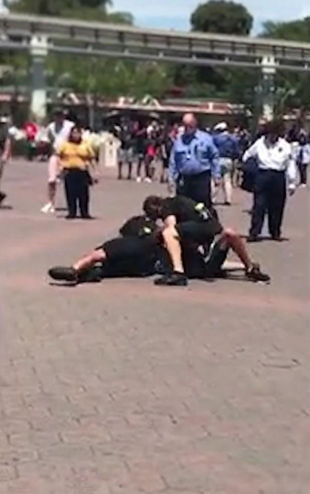 Poco después llegaron los policías, que lo derribaron y lo arrestaron