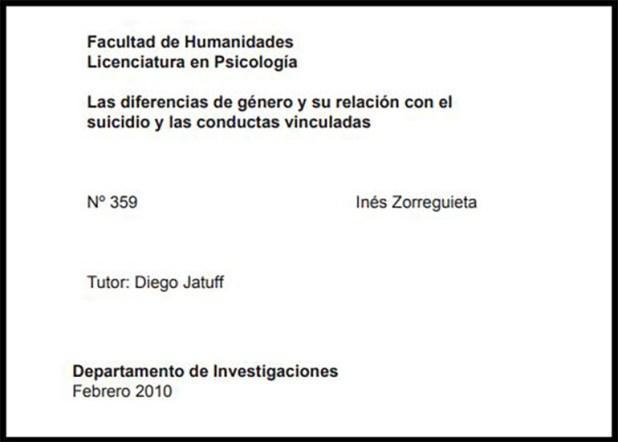 La carátula de la tesina de Inés Zorreguieta.