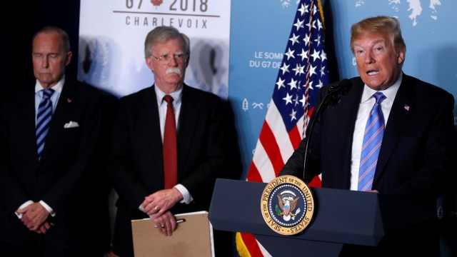Donald Trump durante la conferencia de prensa de este sábado en Canadá (Reuters)