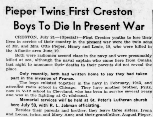 """Las muertes de Ludwig y Julius, de 19 años, fueron publicadas en la portada de""""The Daily Telegram"""", un periódico de Nebraska, un mes después de su muerte, en junio de 1944."""