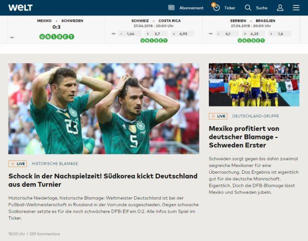 """""""¡Shock en tiempo de descuento! Corea del Sur pateó a Alemania fuera del torneo"""", destaca Die Welt"""
