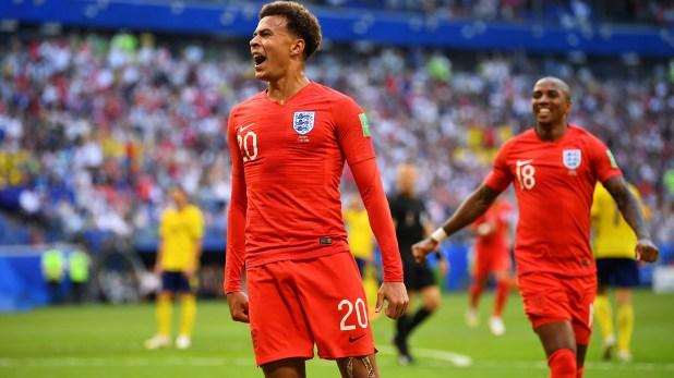 Soccer Football – World Cup – Quarter Final – Sweden vs England – Samara Arena, Samara, Russia – July 7, 2018  England's Dele Alli celebrates scoring their second goal       REUTERS/Dylan Martinez