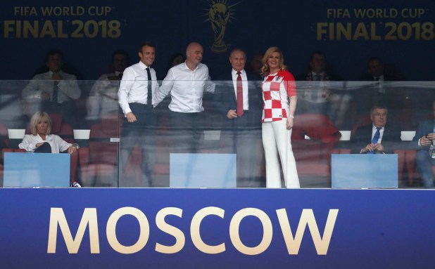 Soccer Football – World Cup – Final – France v Croatia – Luzhniki Stadium, Moscow, Russia – July 15, 2018  President of France Emmanuel Macron, FIFA president Gianni Infantino, President of Russia Vladimir Putin and President of Croatia Kolinda Grabar-Kitarovic before the match   REUTERS/Damir Sagolj
