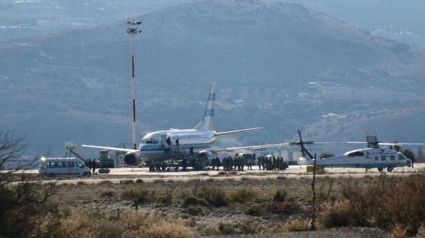 El avión presidencial luego de aterrizar (ANBariloche/Emiliano Rodríguez)
