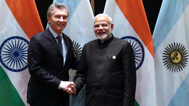 Macri en un encuentro con el primer ministro de la India