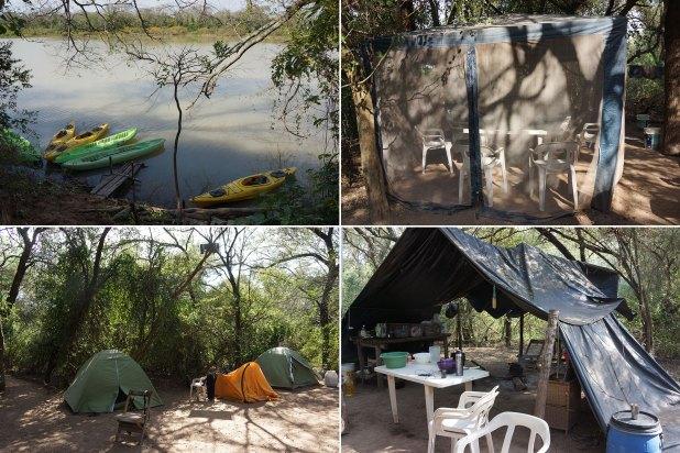 Las canoas que usan los biólogos para recorrer el río, y su campamento (Raquel Peiro)