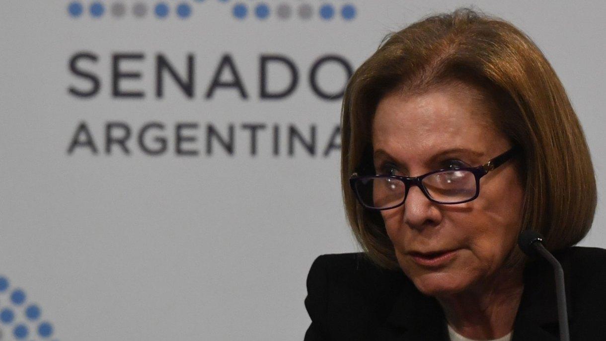 Inés Weinberg de Roca, en julio pasado, durante su exposición en el Senado (Foto: Maximiliano Luna)