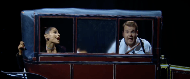 Ariana Grande y James Corden recrearon Titanic con canciones de Lady Gaga, One Direction y por supuesto Celine Dion