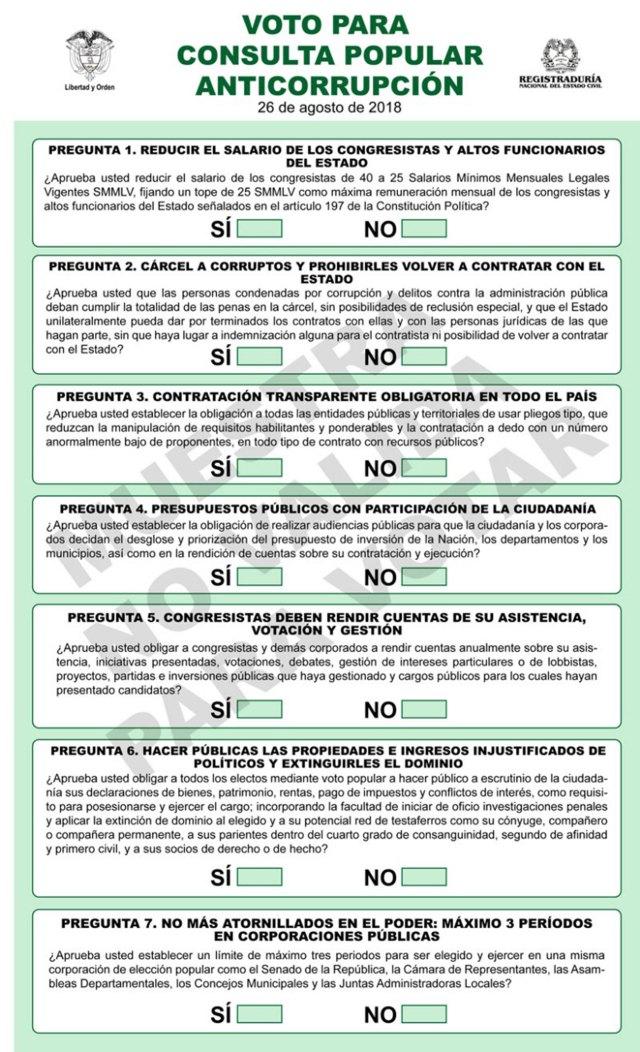 Cartilla de la consulta anticorrupción con las siete propuestas que deberán ser marcadas.