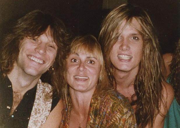 Carvello con Jon Bon Jovi y Sebastian Bach en 1989