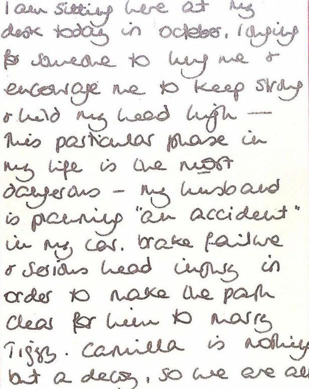 Un extracto de la supuesta carta que escribió Lady Di