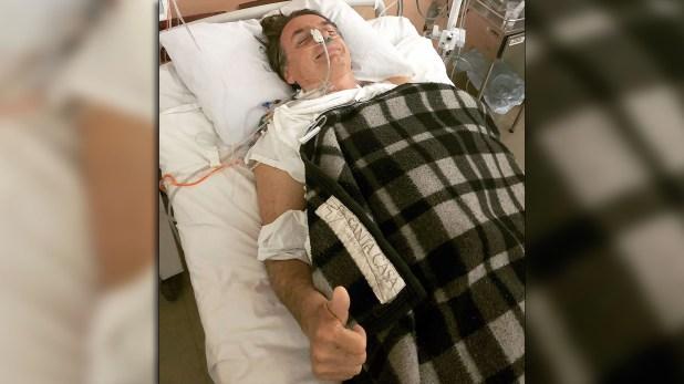 Bolsonaro tras la primera operación a la que fue sometido (@FlavioBolsonaro)