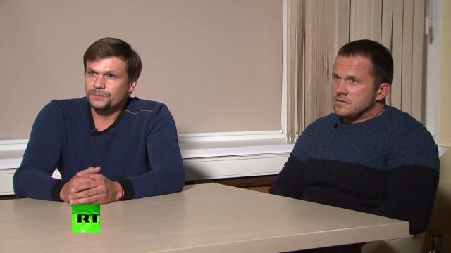 Alexander Petrovy Ruslan Boshirov, s0spechosos de haber intoxicado aSkripal (AFP/RT via Ruptly)