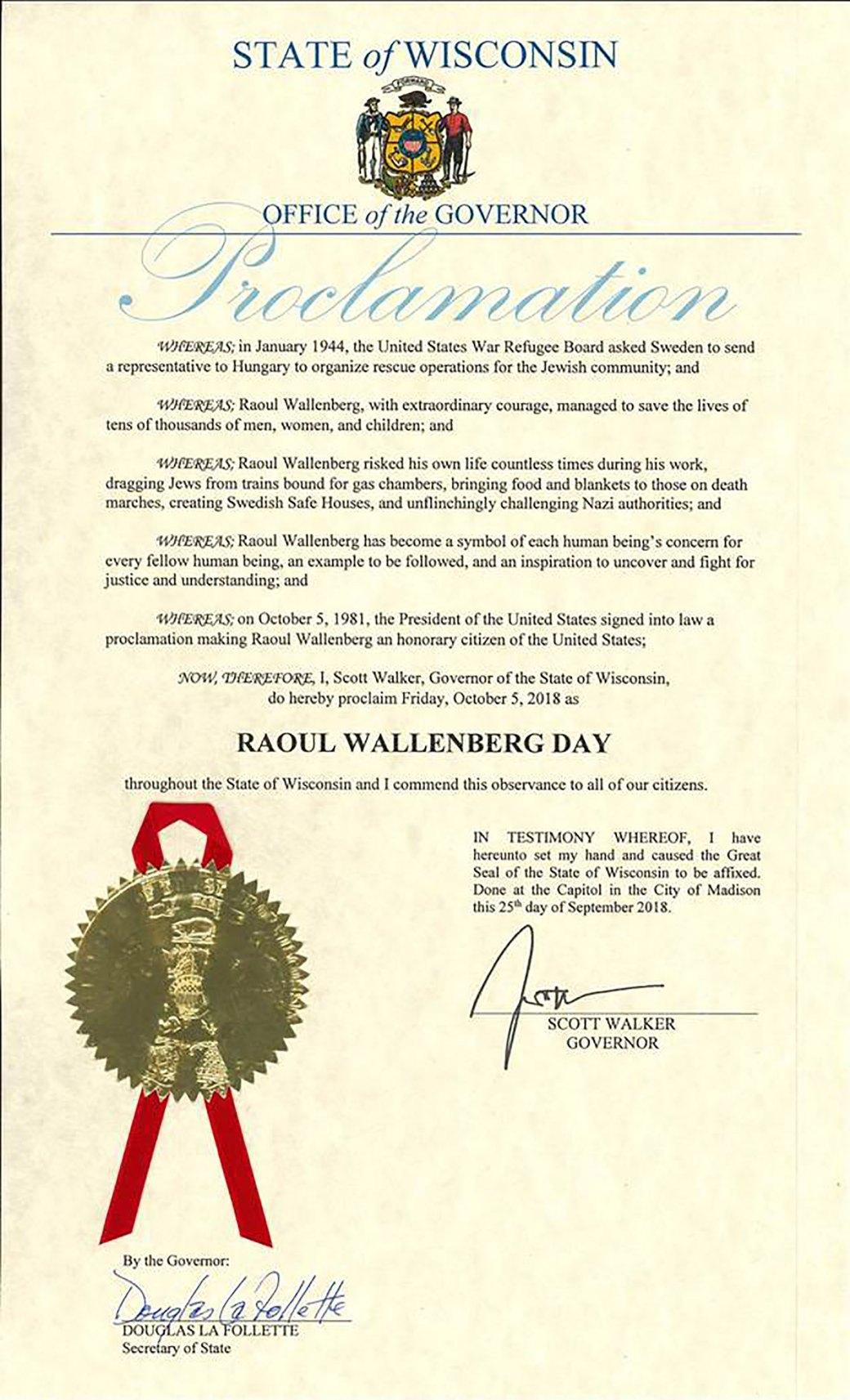 La proclamación del gobernador Scott Walker, de Wisconsin