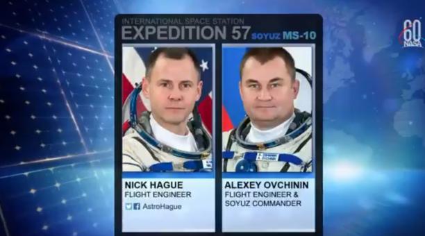 Los astronautas estadounidense Nick Hague y ruso Alexey Ovchinin aterrizaron este 11 de octubre del 2018, en Kzajistán, tras un fallo en el cohete Foto: Captura Twitter NASA