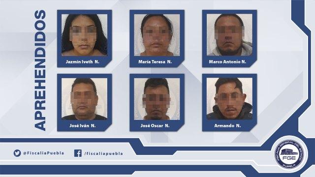 Los seis detenidos por las policías federal y estatal.