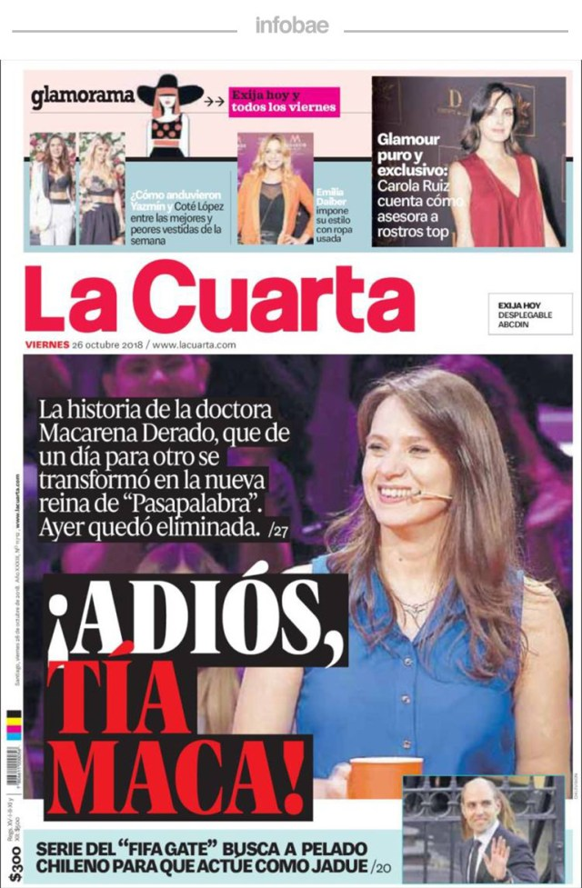 La Cuarta, Chile, 27 de octubre de 2018 – Debate De Noticias
