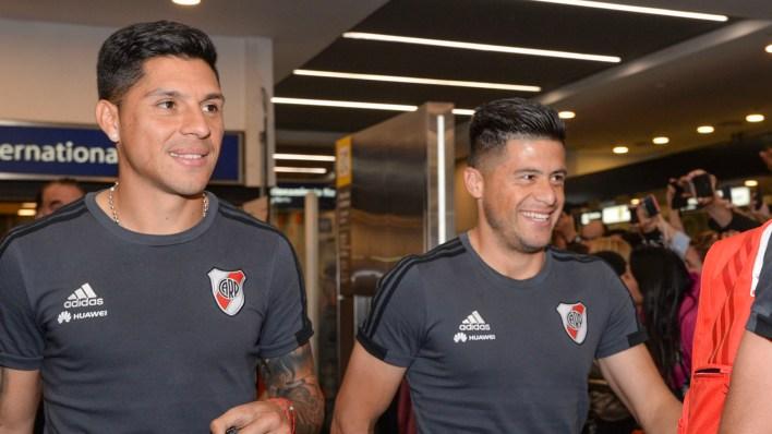 Enzo Pérez y el paraguayo Jorge Moreira, felices después del logro obtenido (Julieta Ferrario)