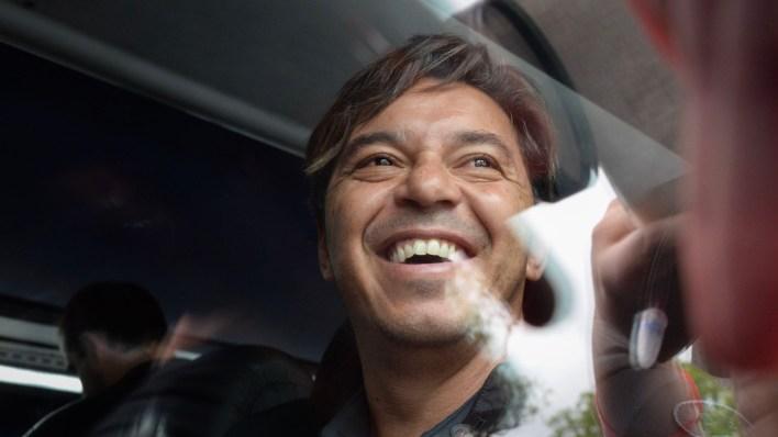 La satisfacción del entrenador de River en la llegada a Buenos Aires (Julieta Ferrario)