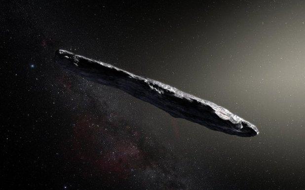 Un retrato artístico de Oumuamua, un objeto que orbita en Júpiter y que fuera descubierto el 19 de octubre de 2017. Para Avi Loeb es una nave alienígena (ESO/M. Kormesser)