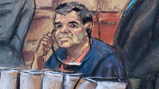 """Dibujo realizado por la artista Jane Rosenberg, donde aparece el narcotraficante mexicano Joaquín """"El Chapo"""" Guzmán durante su comparecencia del martes 30 de octubre de 2018 (EFE)"""