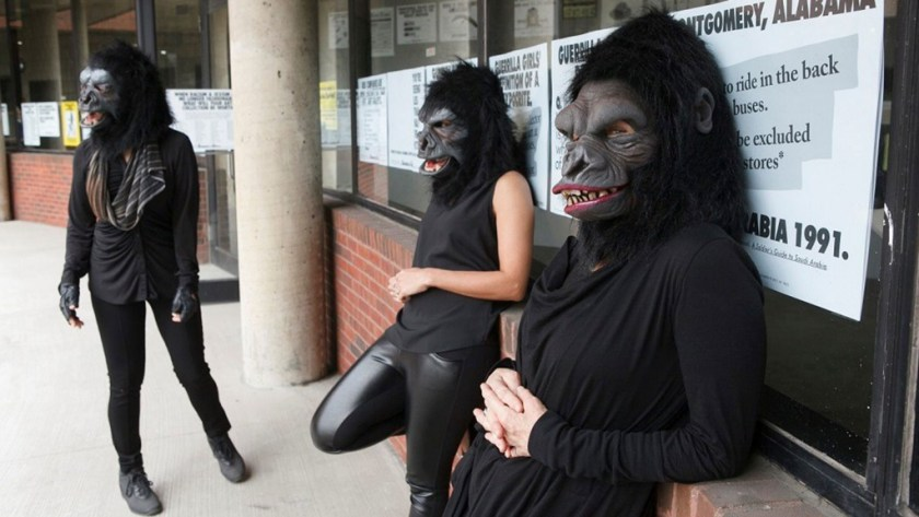 "Photo © Andrew Hindraker Guerrilla Girls artists Kathe Kollwitz, Zubeida Agha and Frida Kahlo during a press preview for an exhibition of works by the Guerrilla Girls titled ""Not Ready To Make Nice: 30 Years And Still Counting,"" at the Abrams Art Center, 466 Grand St, New York, NY on Thursday, April 30, 2015. Photograph by Andrew Hinderaker"