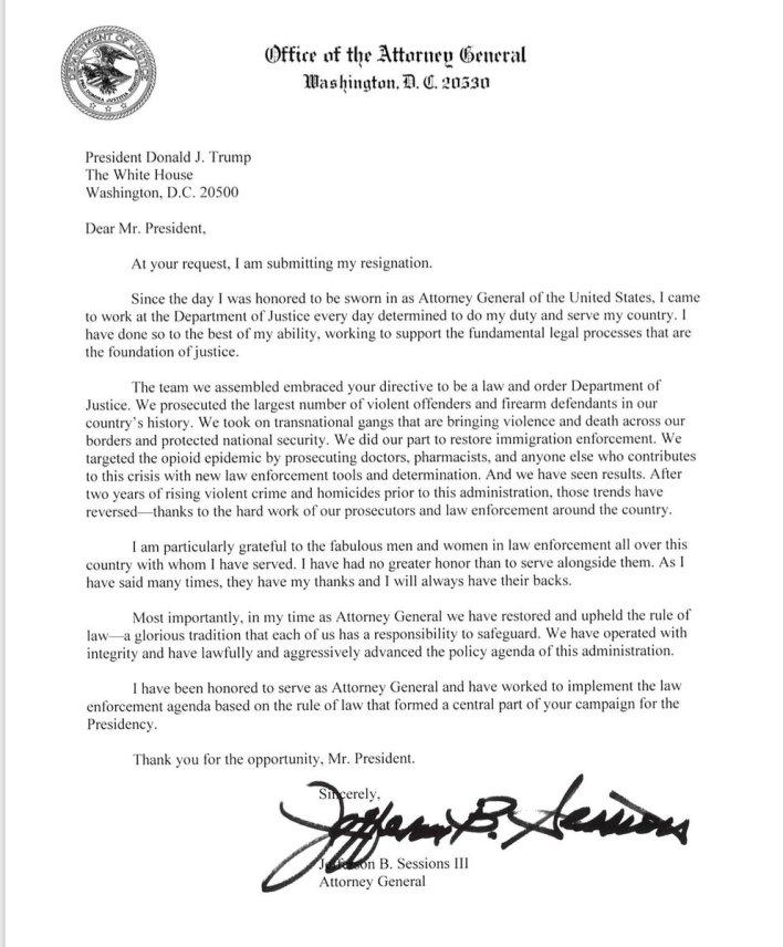 La carta de renuncia de Jeff Sessions