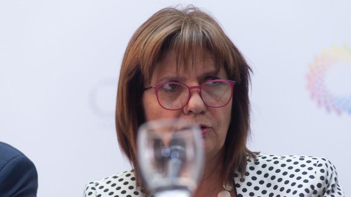 La ministra Patricia Bullrich en una reunión de prensa previa al G20. (Patricio Murphy)