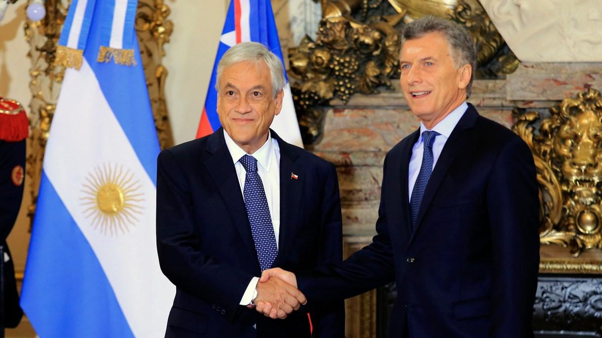 Sebastián Piñera y Mauricio Macri en la Casa Rosada durante la última visita del presidente chileno (Foto: HUGO VILLALOBOS)