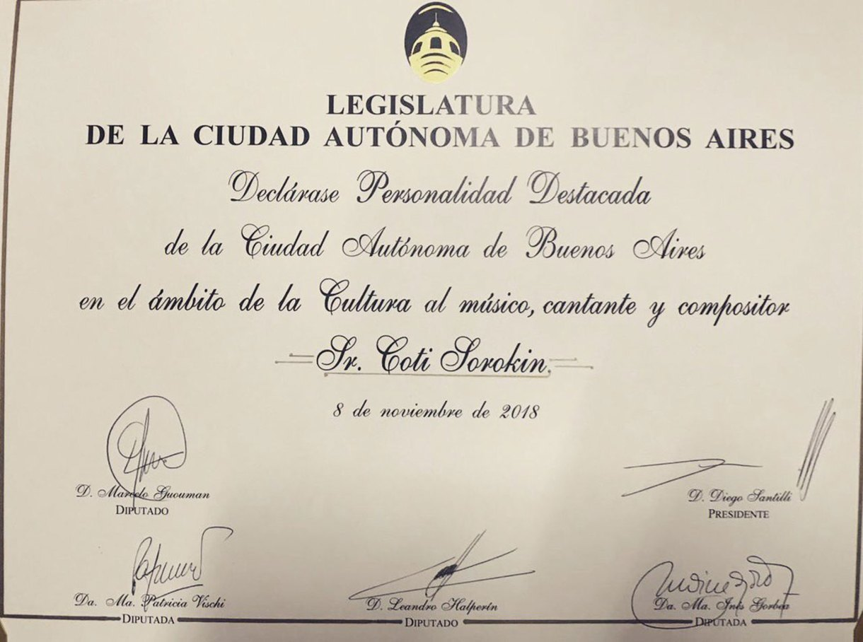 El reconocimiento de la legislatura porteña a Coti