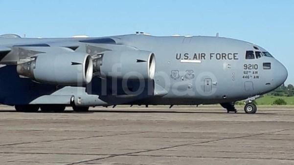DosBoeing C-17A Globemaster III de la Fuerza Aérea de EEUU tambiénlistosenla base en la provincia de Buenos Aires (Foto: Infobae)