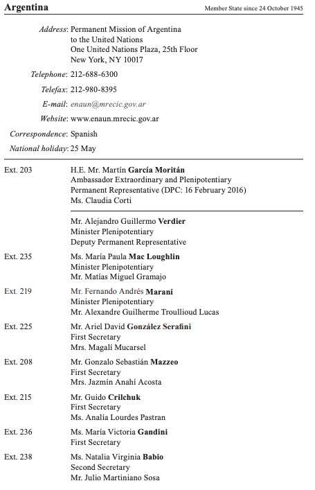 Listado oficial de parte de la Representación Permanente de Argentina en la ONU, al pie de la cual aparecen los nombres de Babio, segunda secretaria, y Sosa