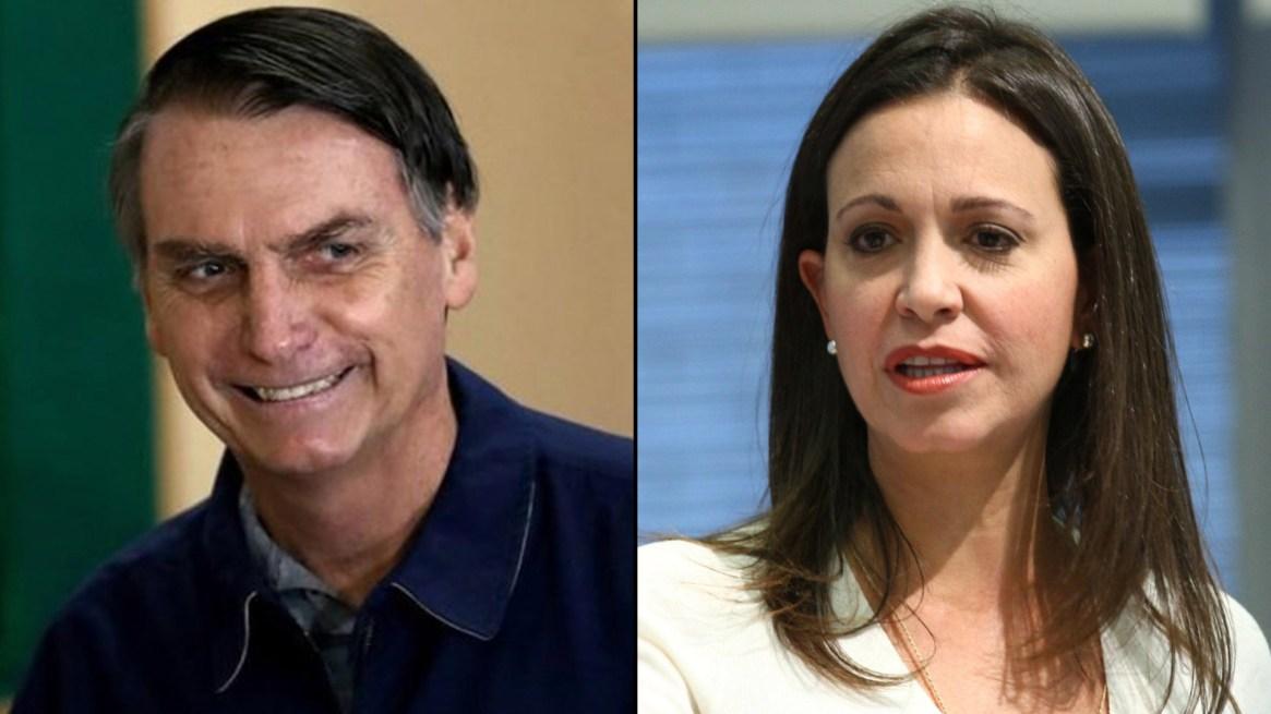 El presidente electo brasileño Jair Bolsonaro y la opositora venezolana María Corina Machado