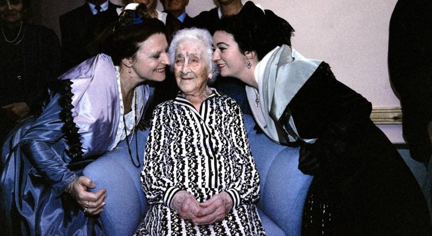 Jeanne Calment, en su cumpleaños 114 (AFP)