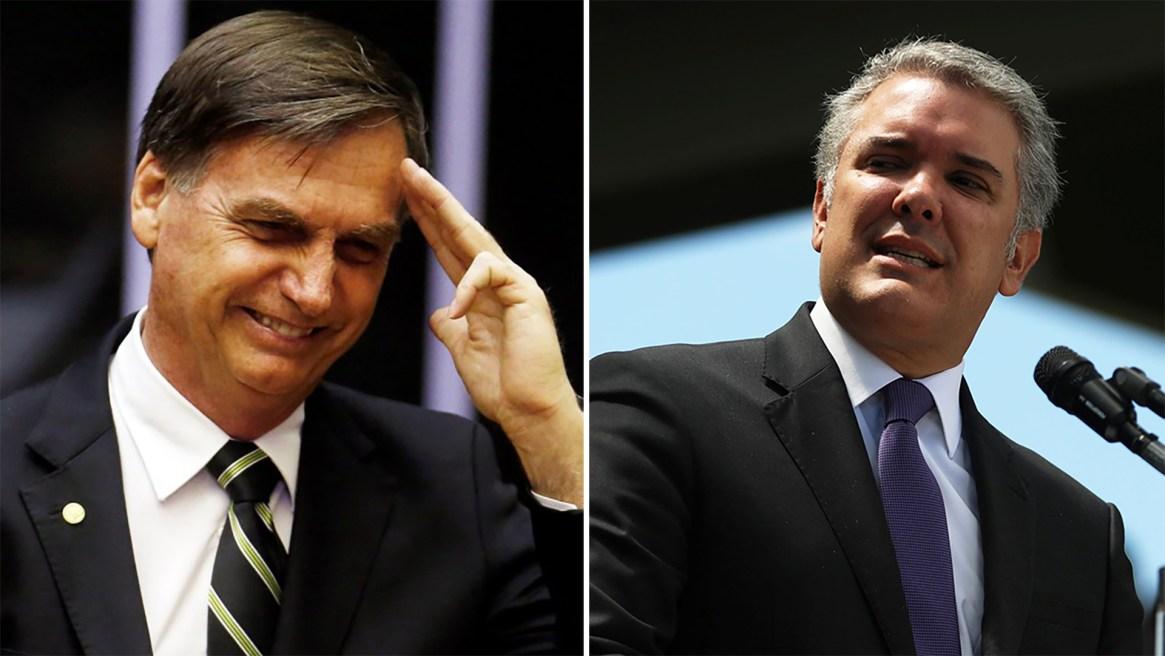 Jair Bolsonaro e Iván Duque