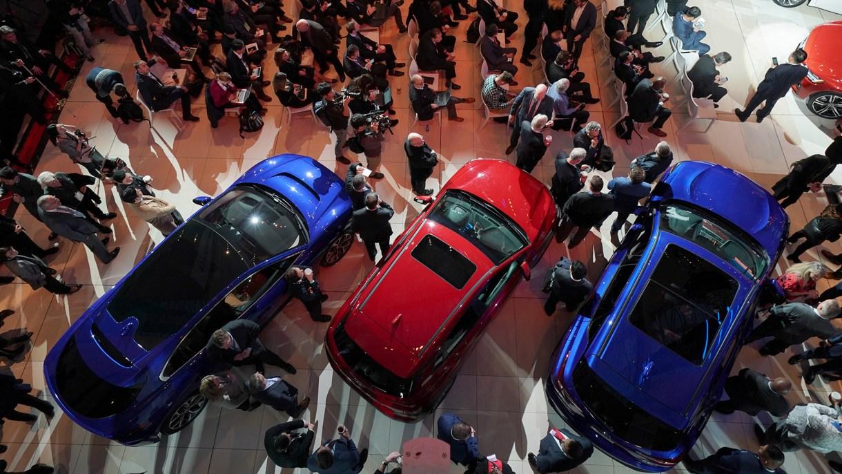 La conferencia de prensa del Coche del Año de NAIAS durante el primer día del North American International Auto Show el 14 de enero de 2019 en el Cobo Center en Detroit, Michigan. (AFP)