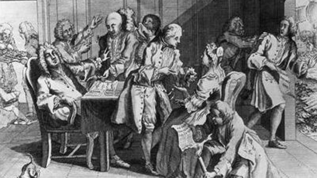 Dibujo satírico de 1738 que muestra al primer ministro Walpole desmayándose cuando Jenkins le muestra su oreja cortada
